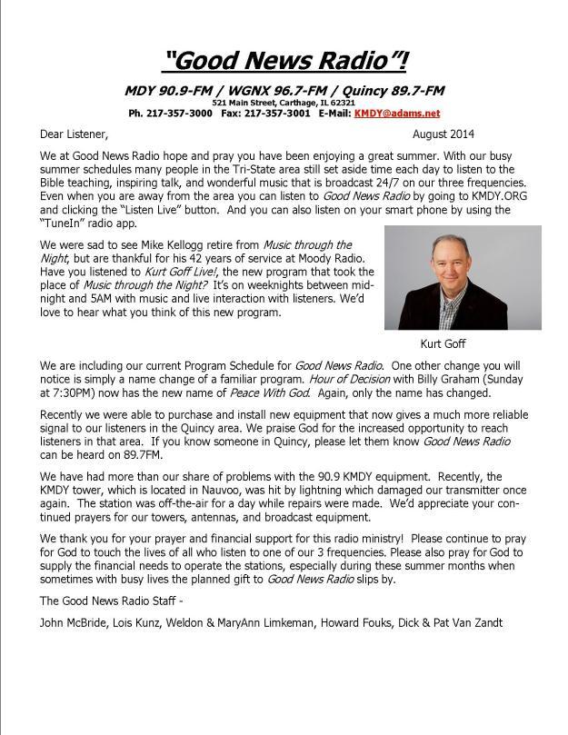 Web KMDY newsletter August 2014