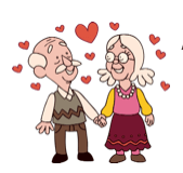 old couple happy hearts