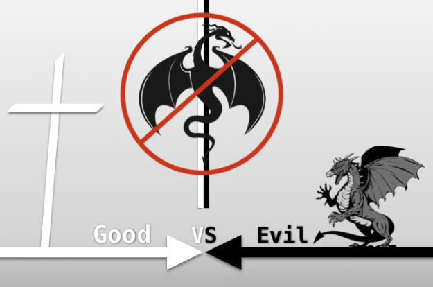 Good versus evil cross dragon