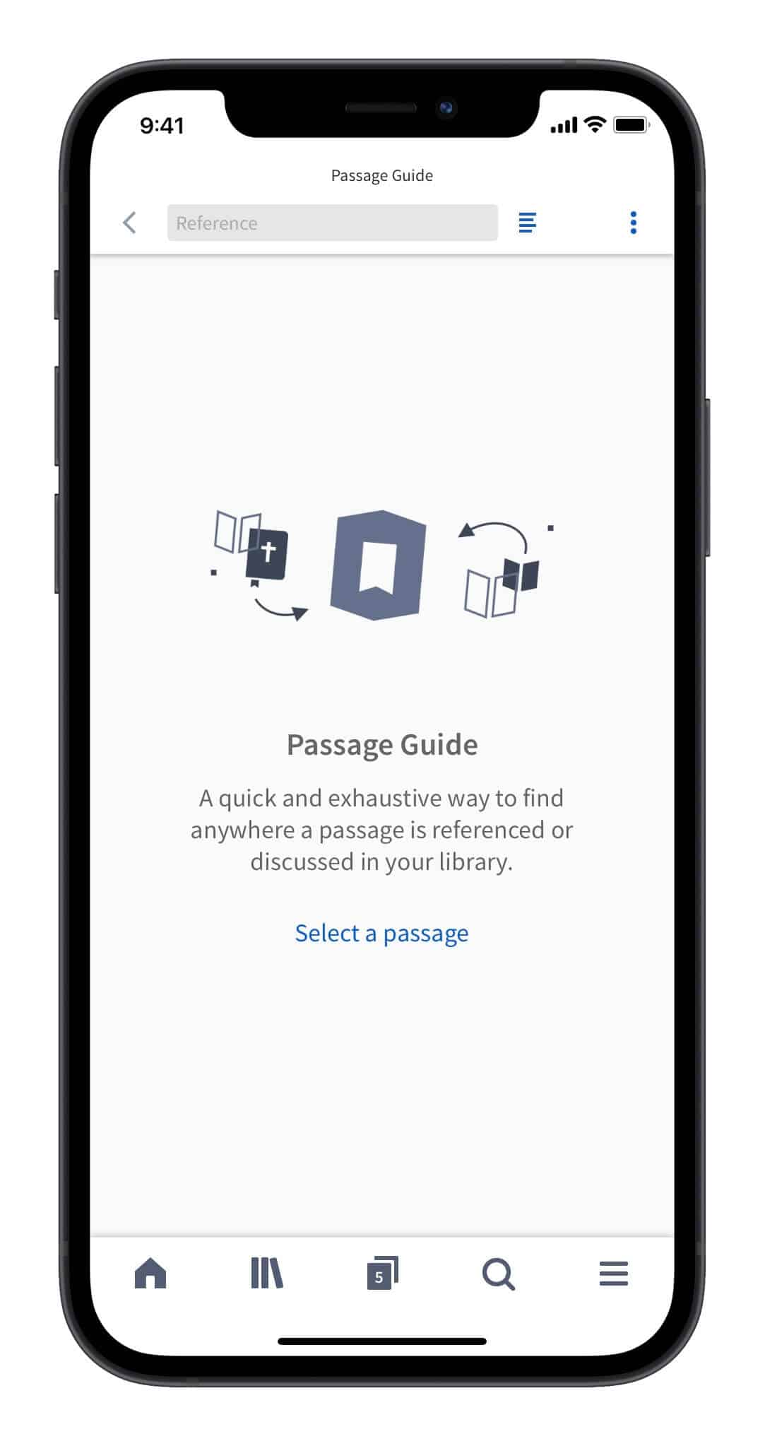 screenshot showing the Passage Guide in the Logos Mobile App