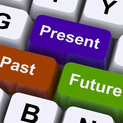 Past Present And Future Keys Showing Evolution Or Aging