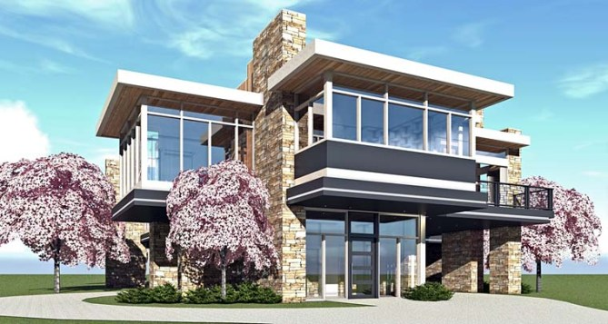 New Modern House Plan with Home Office