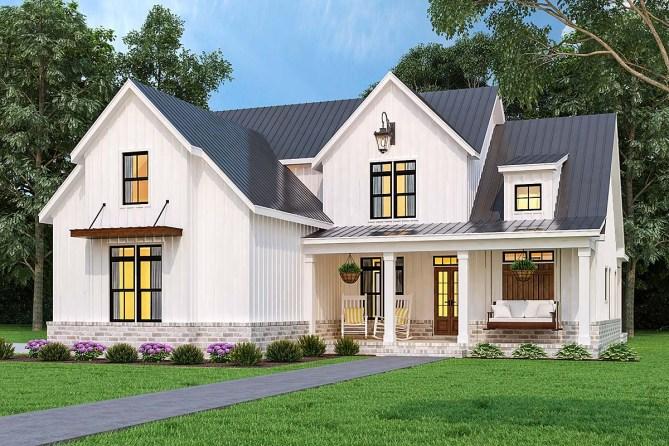 3 Bedroom Modern Farmhouse Plan With Wraparound Back Porch