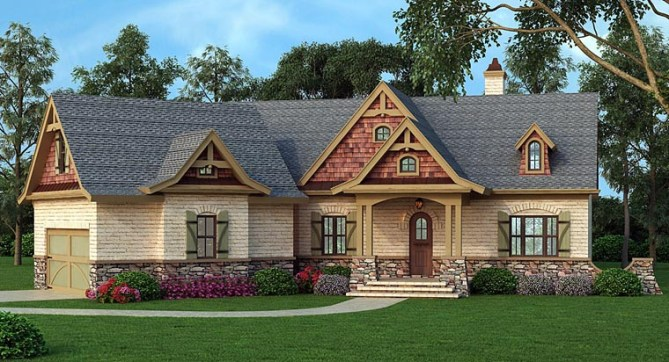 Craftsman Ranch Home Plan With Grilling Deck and Angled 2 Car Garage