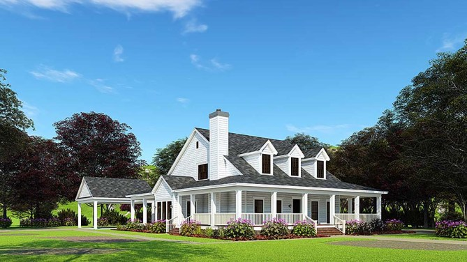 4 Bedroom Farmhouse Plan With Wraparound Porch