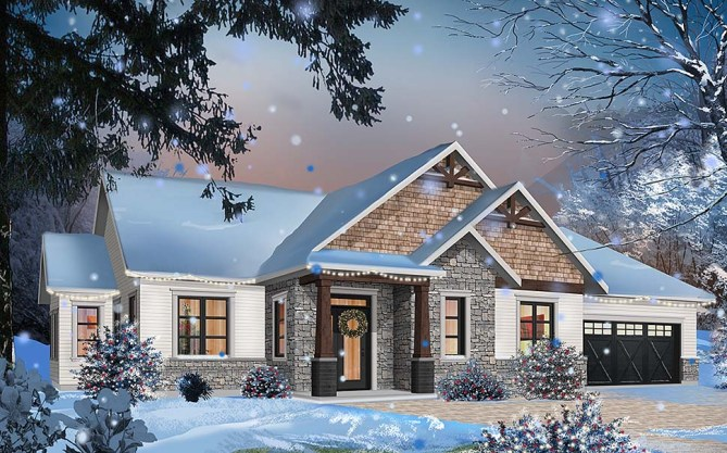 3 Bed, 2 Bath Contemporary Craftsman House Plan With 1858 SqFt