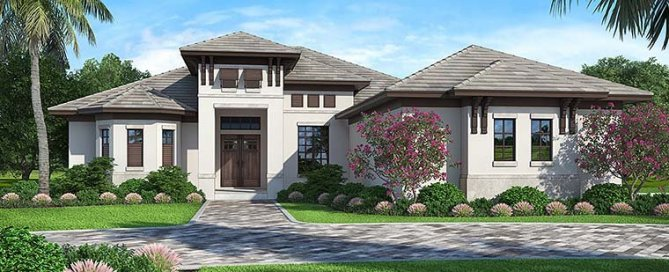 4 Bedroom Mediterranean Style House Plan