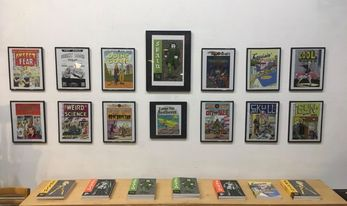 A photo of the Spain display, showing political posters and the books in the series.