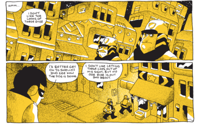 Ben Sears Young Shadow comics excerpt showing Young Shadow watching two suspicious cops from a rooftop