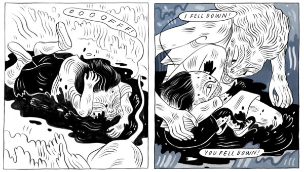 An excerpt from Stone Fruit by Lee Lai, showing Nessie and Bron in their monster forms, with Nessie falling into a mud puddle