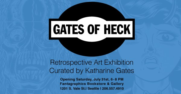 An image containing some art from Gates of Heck obscured by program details for the art exhibition curated by Katherine Gates.