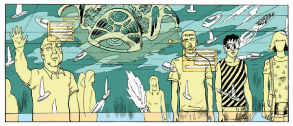 Frame from Lane Milburn's graphic novel, Lure, showing a line of people in fron t of a glass window looking out a a seascape full of sailboats and a large, alien sea creature.
