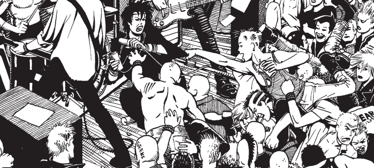 An image from Maggie the Mechanic showing a rowdy punk show with audience members crowdsurfing and reaching toward the singer on stage.