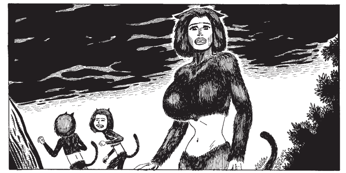 A panel from Scarlet by Starlight showing Fritz as Scarlet, a catlike person, looking concerned while two small catlike people play in the background.