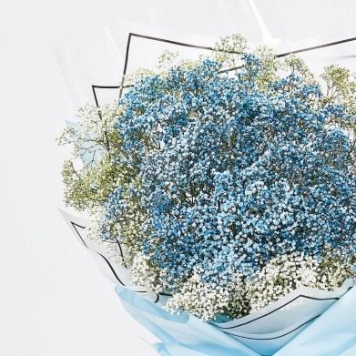 Blue Baby's Breath Bouquet | FarEastFlora.com