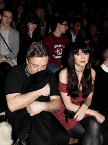 LONDON, ENGLAND - JANUARY 07: Rankin (L) and Lilah Parsons sit in the front row during the Superdry AW14 catwalk event as part of London Collections: Men at The Old Sorting Office on January 7, 2014 in London, England. (Photo by David M. Benett/Getty Images for Superdry) *** Local Caption *** Rankin; Lilah Parsons