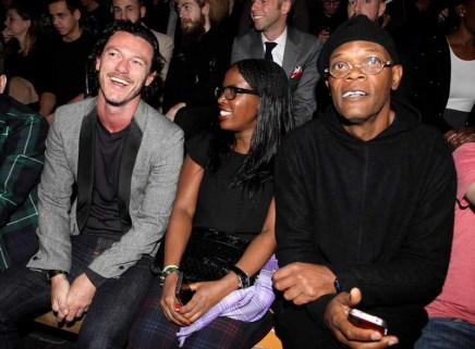 LONDON, ENGLAND - JANUARY 07: (L to R) Luke Evans, Sofia Davis and Samuel L. Jackson sit in the front row during the Superdry AW14 catwalk event as part of London Collections: Men at The Old Sorting Office on January 7, 2014 in London, England. (Photo by David M. Benett/Getty Images for Superdry) *** Local Caption *** Luke Evans; Sofia Davis; Samuel L. Jackson