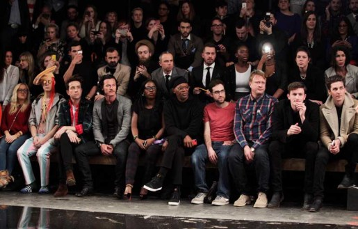 LONDON, ENGLAND - JANUARY 07: (L to R) Aimee Phillips, Ian Chaloner, Nick Grimshaw, Luke Evans, Sofia Davis, Samuel L. Jackson, Beardyman, Adam Dewhurst, Teddy Edwards and George Craig sit in the front row during the Superdry AW14 catwalk event as part of London Collections: Men at The Old Sorting Office on January 7, 2014 in London, England. (Photo by David M. Benett/Getty Images for Superdry) *** Local Caption *** Aimee Phillips; Ian Chaloner; Nick Grimshaw; Luke Evans; Sofia Davis; Samuel L. Jackson; Beardyman; Adam Dewhurst; Teddy Edwards; George Craig