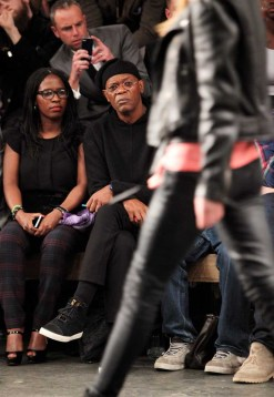 LONDON, ENGLAND - JANUARY 07: Sofia Davis (L) and Samuel L. Jackson sit in the front row during the Superdry AW14 catwalk event as part of London Collections: Men at The Old Sorting Office on January 7, 2014 in London, England. (Photo by David M. Benett/Getty Images for Superdry) *** Local Caption *** Sofia Davis; Samuel L. Jackson
