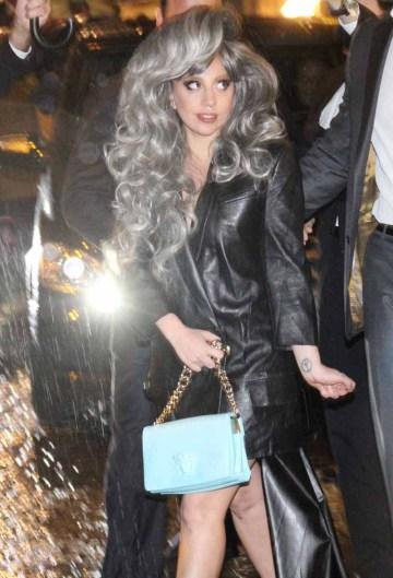 Lady Gaga greets fans outside the Park Hyatt hotel in Milan