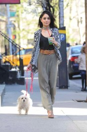 -New York, NY - 04/27/2015 - Vanessa Hudgens goes for an afternoon juice run with her dog. She looks great in her little black top, choker necklace and Bongo belted crepe maxi skirt and Bong tribal print waterfall cardigan. -PICTURED: Vanessa Hudgens -PHOTO by: Michael Simon/startraksphoto.com -MS_261062 Editorial - Rights Managed Image - Please contact www.startraksphoto.com for licensing fee Startraks Photo New York, NY For licensing please call 212-414-9464 or email sales@startraksphoto.com Startraks Photo reserves the right to pursue unauthorized users of this image. If you violate our intellectual property you may be liable for actual damages, loss of income, and profits you derive from the use of this image, and where appropriate, the cost of collection and/or statutory damages.