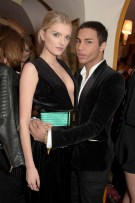 LONDON, ENGLAND - MARCH 16: Lily Donaldson and Olivier Rousteing attend a dinner hosted by Olivier Rousteing, to mark the opening of Balmain's first London store, at Ann abel's on March 16, 2015 in London, England. (Photo by David M. Benett/Getty Images for Balmain) *** Local Caption *** Lily Donaldson; Olivier Rousteing