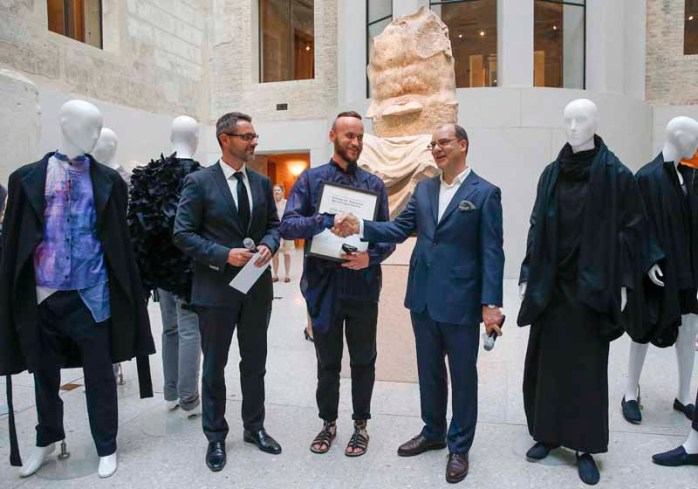 BERLIN, GERMANY - JULY 06: Tobias Groeber, Tomasz Szadel and Joachim Schirrmacher during the award ceremony European Fashion Award FASH 2015 by SDBI at Neues Museum Berlin on July 6, 2015 in Berlin, Germany. (Photo by Isa Foltin/Getty Images for FASH2015_SDBI.DE)