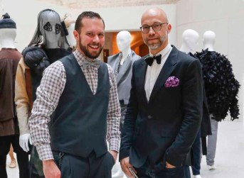 BERLIN, GERMANY - JULY 06: Bendix Bauer and guest during the award ceremony European Fashion Award FASH 2015 by SDBI at Neues Museum Berlin on July 6, 2015 in Berlin, Germany. (Photo by Isa Foltin/Getty Images for FASH2015_SDBI.DE)