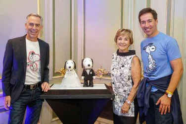 BERLIN, GERMANY - JULY 08: Steve Martino, Jeannie Schulz and Ralph Millero attend the Snoopy & Belle Vernissage at Mercedes-Benz Fashion Week Berlin Spring/Summer 2016 at Ermelerhaus on July 08, 2015 in Berlin, Germany. (Photo by Franziska Krug/Getty Images for SBIFBERLIN)