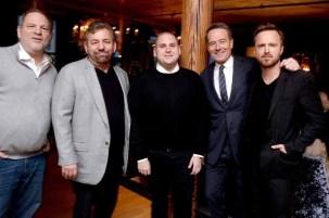 Harvey Weinstein, James Dolan, Jonah Hill, Bryan Cranston, Aaron Paul==A Celebration for Bryan Cranston==Elyx House NYC, ==December 13, 2015==©Patrick McMullan==Photo - Clint Spaulding / PMC== ==