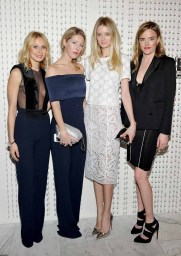 LOS ANGELES, CA - JANUARY 13: (L-R) Galvan's Katherine Holmgren and Anna-Christin Haas, stylist Rebecca Corbin-Murray, and Galvan's Sola Harrison attend the Galvan For Opening Ceremony Dinner Hosted By Swarovski at Private Residence on January 13, 2016 in Los Angeles, California. (Photo by Donato Sardella/Getty Images for Galvan)