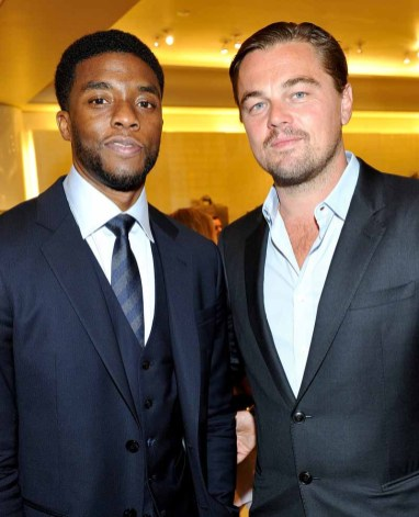 BEVERLY HILLS, CA - FEBRUARY 27: Actors Chadwick Boseman (L) and Leonardo DiCaprio attend Giorgio Armani Oscars Party on February 27, 2016 in Beverly Hills, California. (Photo by Donato Sardella/Getty Images for Giorgio Armani)