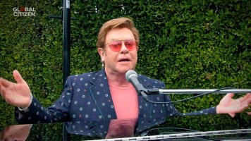 """UNSPECIFIED LOCATION - APRIL 18: In this screengrab, Sir Elton John performs during """"One World: Together At Home"""" presented by Global Citizen on April, 18, 2020. The global broadcast and digital special was held to support frontline healthcare workers and the COVID-19 Solidarity Response Fund for the World Health Organization, powered by the UN Foundation. (Photo by Getty Images/Getty Images for Global Citizen )"""