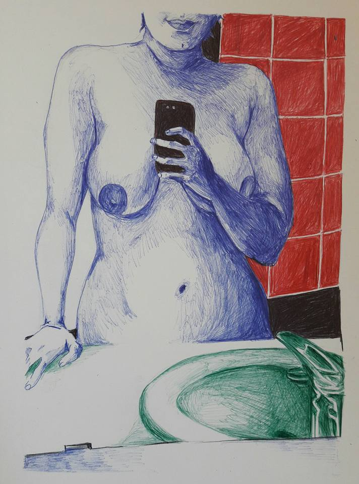 Dessin au stylo 4 couleurs d'une femme qui prend un selfie, nue dans sa salle de bain