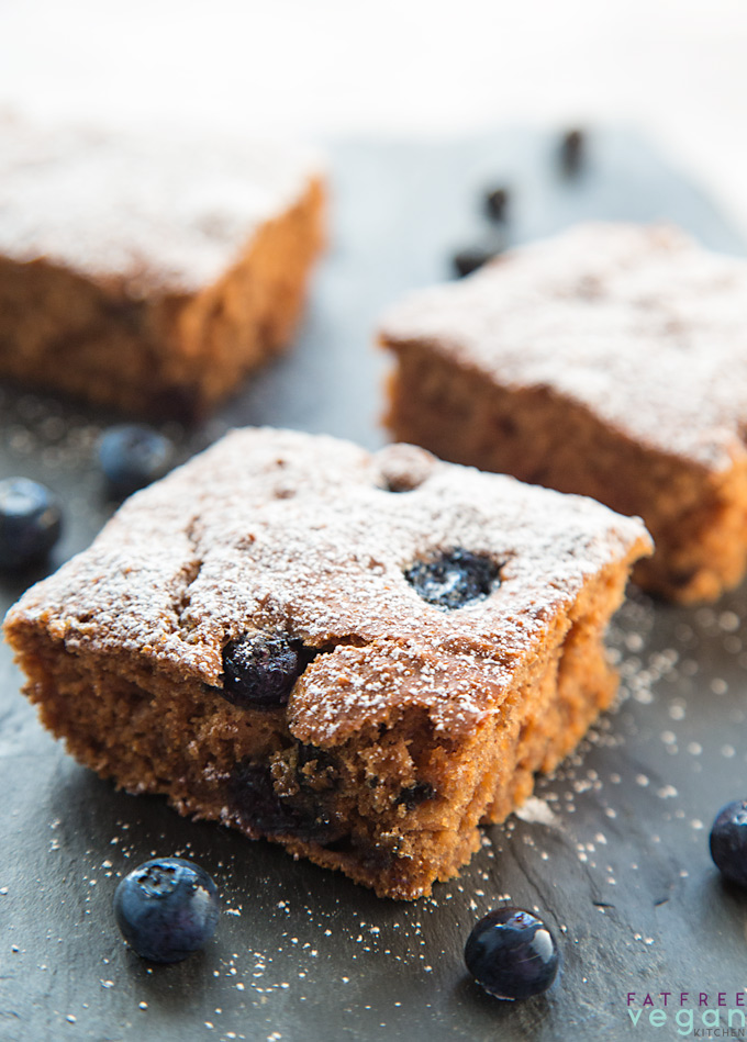 Blueberry Applesauce Cake Bars: Lightly cinnamon-flavored and punctuated with bursts of juicy blueberries, blueberry applesauce cake bars are vegan, fat-free, and soy-free.