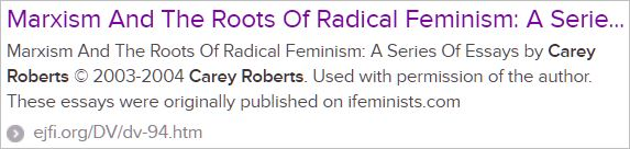 Search result for Carey Roberts on the Marxist roots of radical feminism