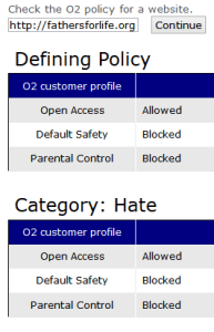 O2 website status for Fathers for Life