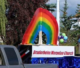 Not that sort of rainbow flag, Bruderheim centennial parade, 2008 08 30