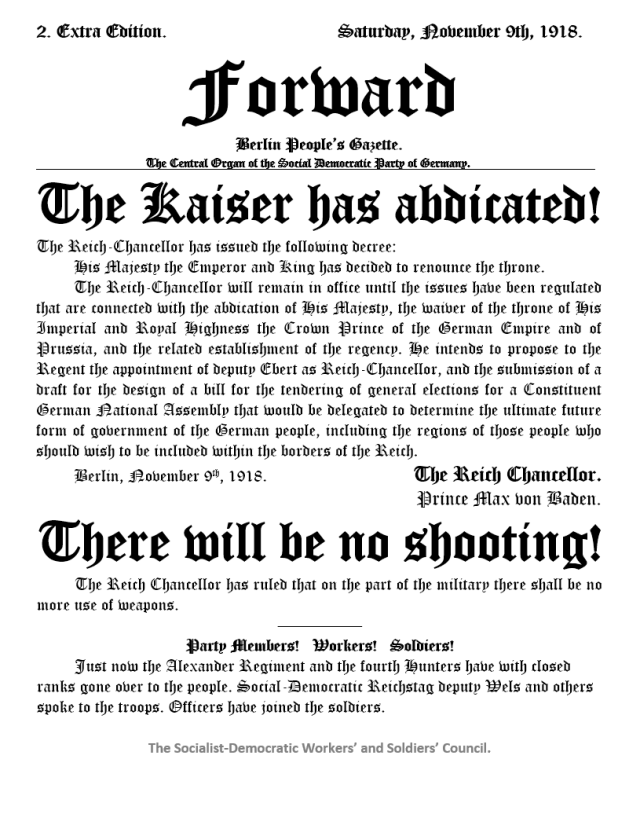 The Kaiser abdicates