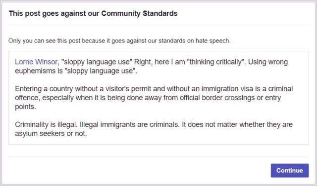 Facebook's community standards are wrong.