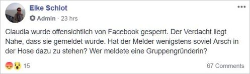 FB blocked Claudia Kirn, founder of >Dskussionsgruppe<