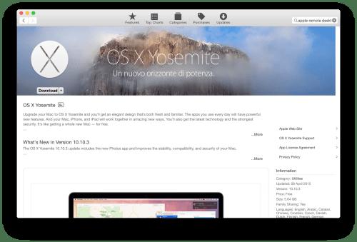 Scarica OS X Yosemite dall'App Store