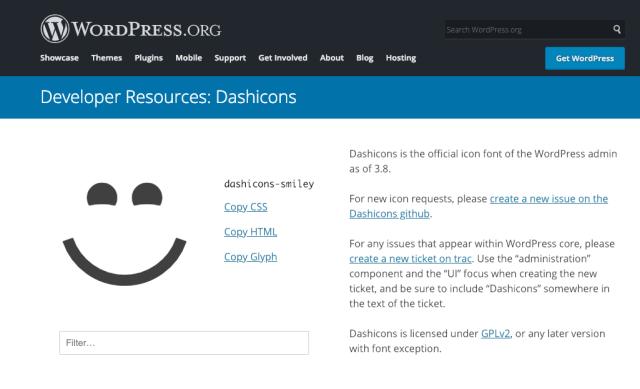 Tela de icones do WordPress