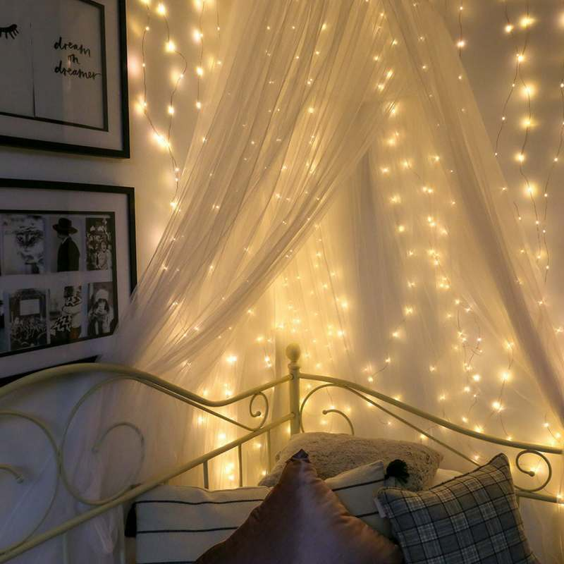 bedroom look magical using fairy lights
