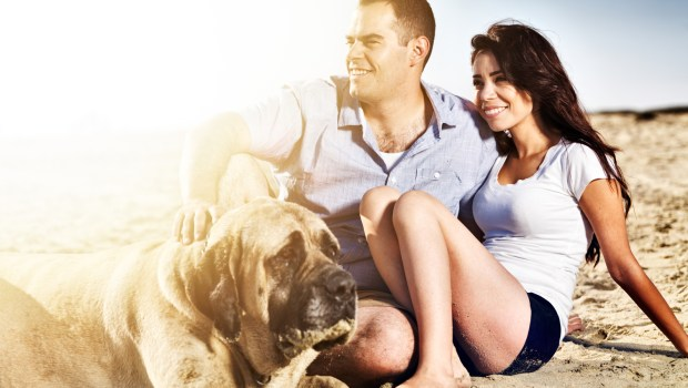 Couple with pet dog