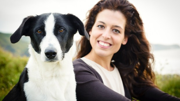 Dog and woman portrait
