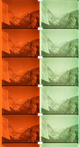 Unidentified Processes from the Kodak Film Samples Collection and the Cinematography Collection. Credit: National Science and Media Museum Bradford. Photographs by Barbara Flueckiger in collaboration with Noemi Daugaard, SNSF Film Colors.