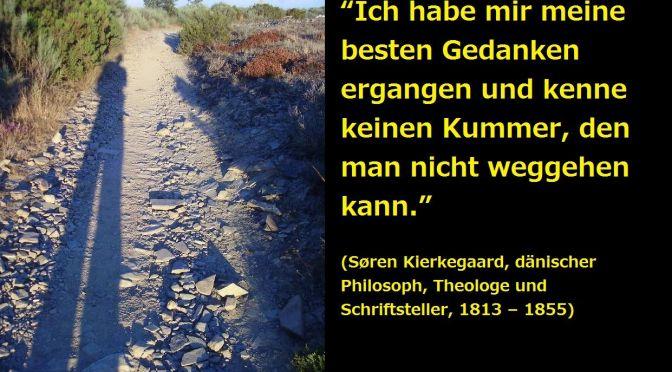 """""""Ich habe mir meine besten Gedanken ergangen und kenne keinen Kummer, den man nicht weggehen kann."""" (Søren Kierkegaard, dänischer Philosoph, Theologe und Schriftsteller, 1813 – 1855)"""