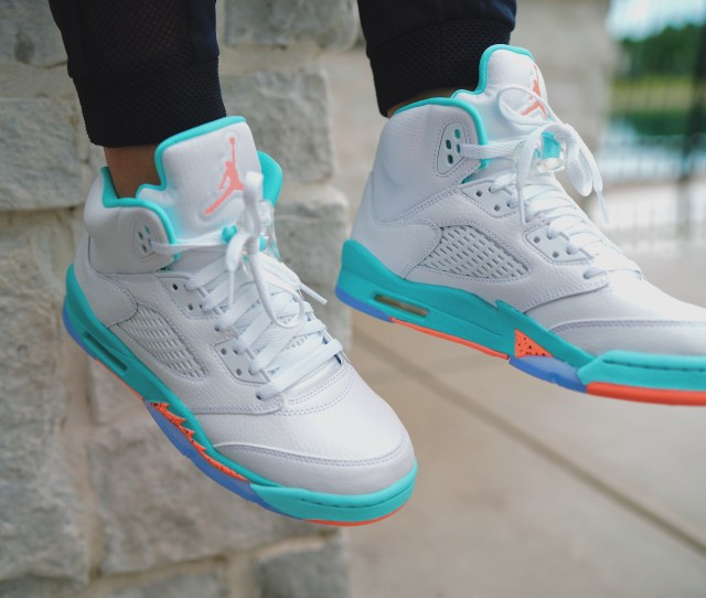 The Up And Coming Air Jordan Kids Retro  Takes On A Fun And Bright New Tone For Summer This New Kids Sneaker Colorway Features Aqua Orange