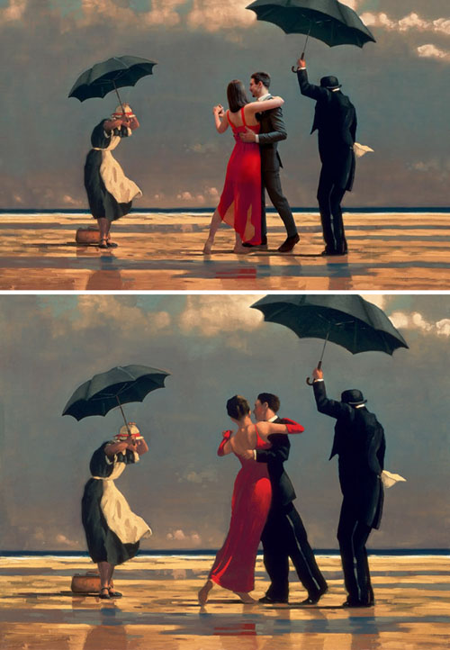 "Ad based on Jack Vettriano's ""Singing Butler"""